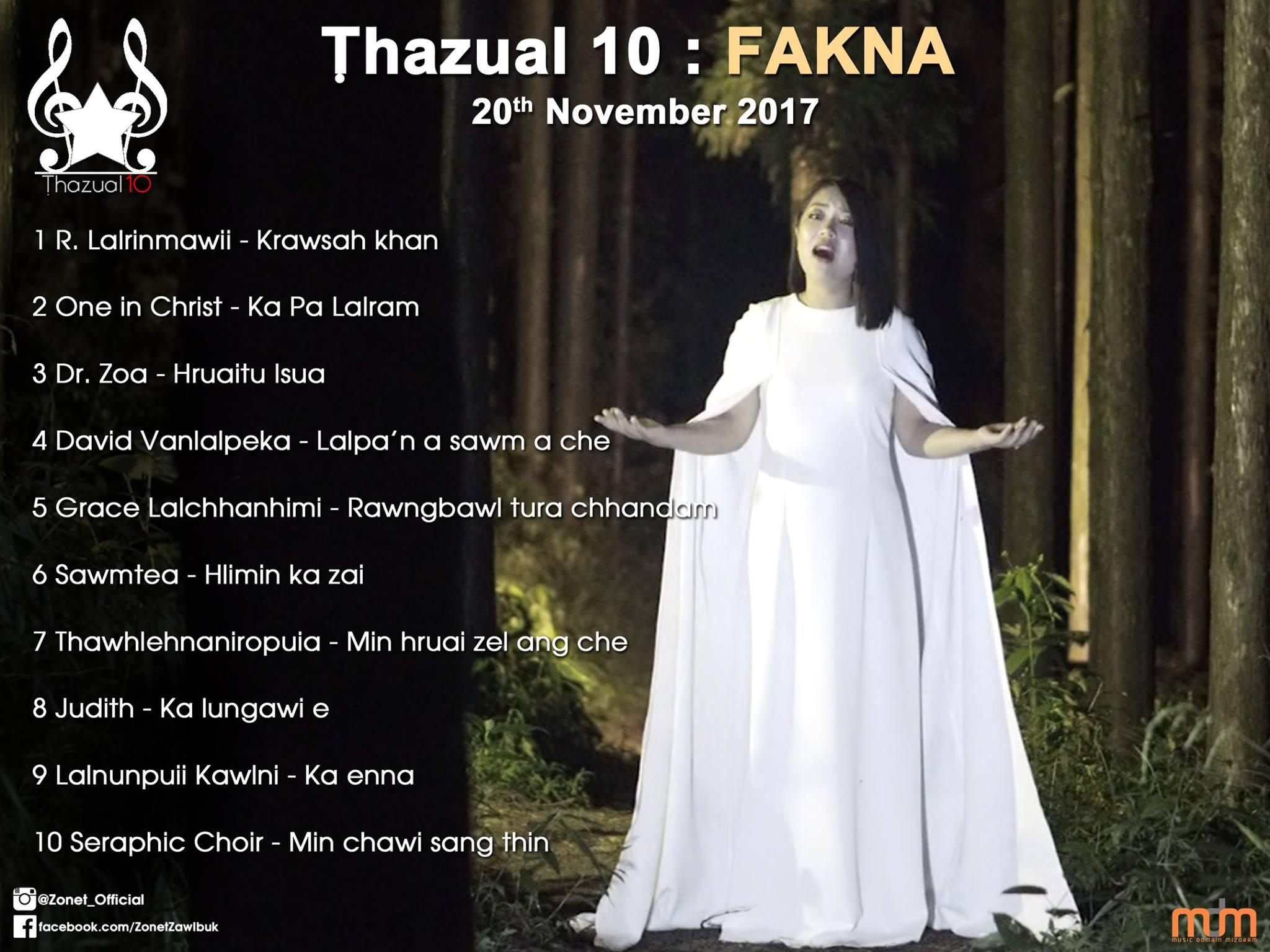 Thazual 10 (Fakna) 21st Nov 2017: Tun kar chart-ah R.Lalrinmawii (Arini) pakhatna a ni